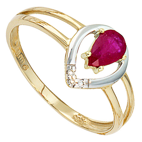 Damen Ring 585 Gold Gelbgold bicolor 1 Rubin rot 3 Diamanten Brillanten Goldring