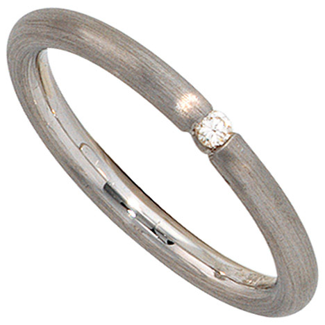 SIGO Damen Ring 925 Sterling Silber rhodiniert mattiert 1 Diamant Brillant Silberring