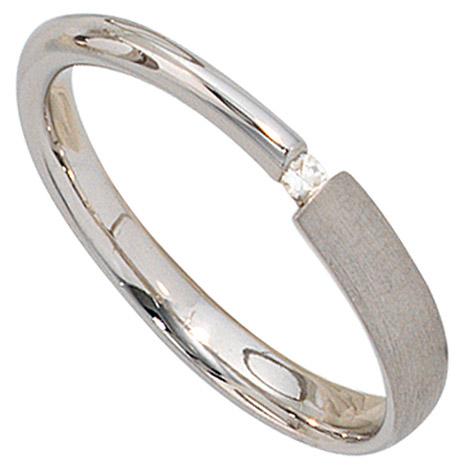 SIGO Damen Ring 925 Sterling Silber rhodiniert mattiert 1 Diamant 0,02ct. Silberring