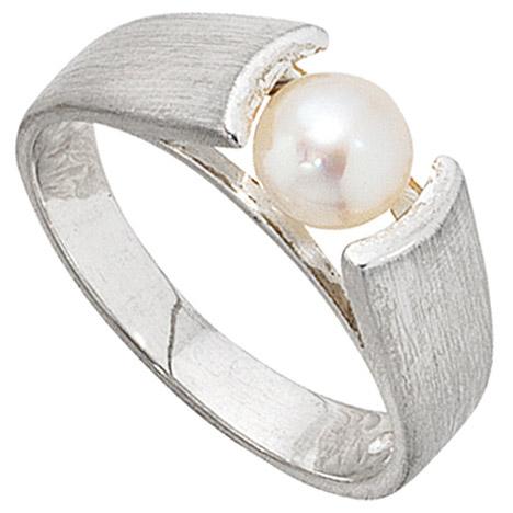 SIGO Damen Ring 925 Sterling Silber mattiert 1 Süßwasser Perle Silberring Perlenring   Schmuck > Ringe > Silberringe   Silber - Weiß   SIGO