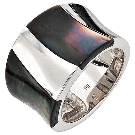 SIGO Damen Ring breit 925 Sterling Silber rhodiniert Perlmutt Einlagen Silberring   Schmuck > Ringe > Silberringe   Silber   SIGO