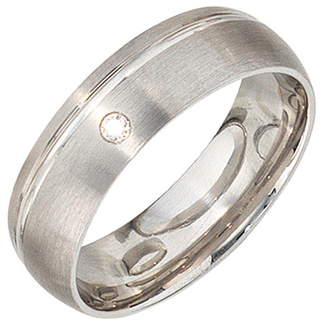 SIGO Partner Ring 925 Sterling Silber rhodiniert mattiert 1 Zirkonia Silberring | Schmuck > Ringe > Partnerringe | Silber - Weiß | SIGO