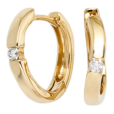 SIGO Creolen 585 Gold Gelbgold 2 Diamanten Brillanten 0,08ct. Ohrringe Goldcreolen