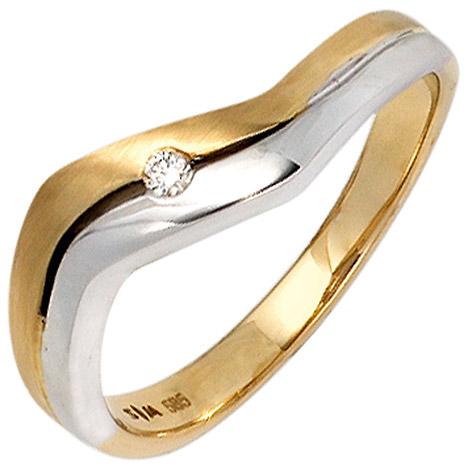 SIGO Damen Ring 585 Gold Gelbgold Weißgold bicolor matt 1 Diamant Brillant