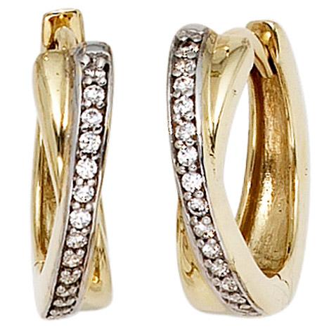 Ohrringe für Frauen - SIGO Creolen 333 Gold Gelbgold bicolor 28 Zirkonia Ohrringe Goldohrringe Goldcreolen  - Onlineshop Goettgen