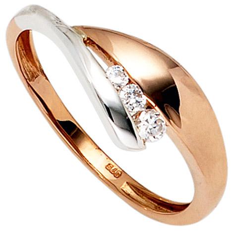 SIGO Damen Ring 375 Gold Rotgold Weißgold bicolor 3 Zirkonia Goldring