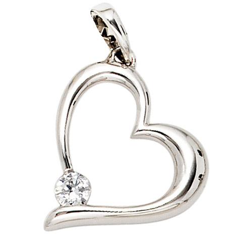 SIGO Anhänger Herz 333 Gold Weißgold 1 Zirkonia Herzanhänger   Schmuck > Halsketten > Herzketten   Silber - Gold - Weiß   SIGO