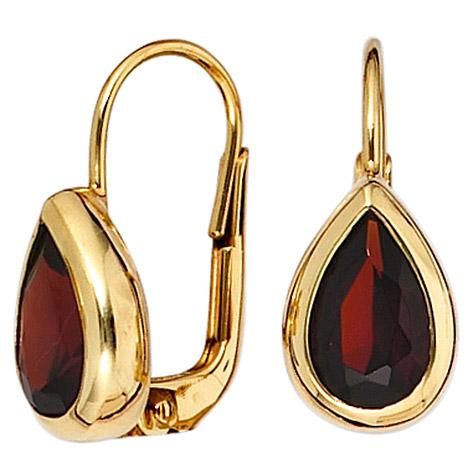Ohrringe für Frauen - SIGO Boutons Tropfen 375 Gold Gelbgold 2 Granate rot Ohrringe Ohrhänger  - Onlineshop Goettgen