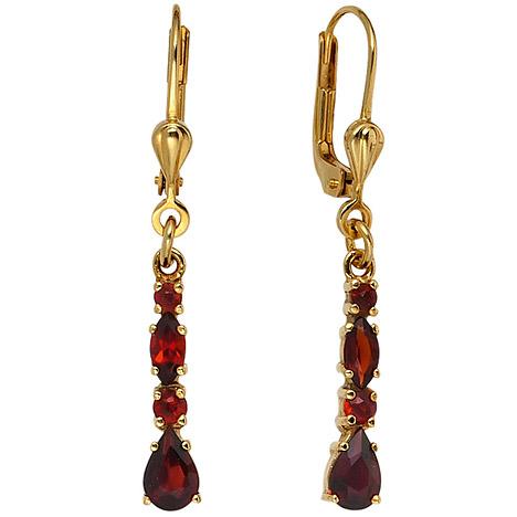 Ohrringe für Frauen - SIGO Boutons 375 Gold Gelbgold 8 Granate rot Ohrringe Ohrhänger Goldohrringe  - Onlineshop Goettgen