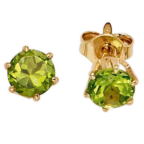 Ohrringe für Frauen - SIGO Ohrstecker rund 585 Gold Gelbgold 2 Peridote grün Ohrringe Goldohrstecker  - Onlineshop Goettgen