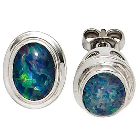 Ohrringe für Frauen - SIGO Ohrstecker oval 585 Gold Weißgold 2 Opaltripletten Ohrringe Goldohrstecker  - Onlineshop Goettgen