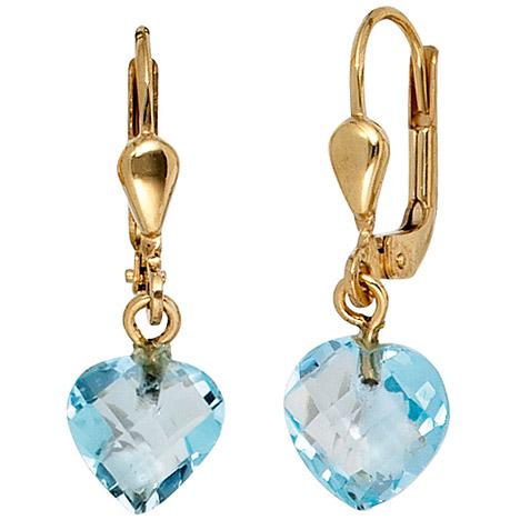 SIGO Boutons Herz 585 Gold Gelbgold 2 Blautopase hellblau blau Ohrringe Ohrhänger | Schmuck > Ohrschmuck & Ohrringe > Ohrstecker | Gold - Blau | SIGO