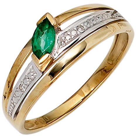 SIGO Damen Ring 585 Gold Gelbgold bicolor 1 Smaragd grün2 Diamanten 0,01ct. Goldring | Schmuck > Ringe > Diamantringe | Silber - Mehrfarbigen - Multicolor - Gold - Grün | SIGO