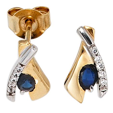 Ohrringe für Frauen - SIGO Ohrstecker 333 Gold Gelbgold bicolor 10 Zirkonia 2 Safire blau Ohrringe  - Onlineshop Goettgen