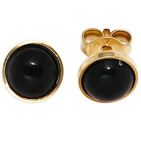 Ohrringe für Frauen - SIGO Ohrstecker rund 333 Gold Gelbgold 2 Onyxe schwarz Ohrringe Goldohrstecker  - Onlineshop Goettgen