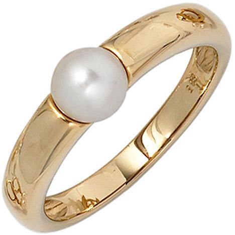 SIGO Damen Ring 585 Gold Gelbgold 1 Süßwasser Perle Goldring Perlenring | Schmuck > Ringe > Goldringe | Gold - Weiß | SIGO