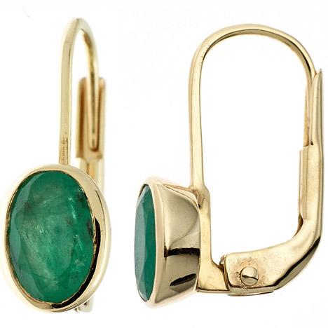 Ohrringe für Frauen - SIGO Boutons oval 333 Gold Gelbgold 2 Smaragde grün Ohrringe Ohrhänger Goldohrringe  - Onlineshop Goettgen