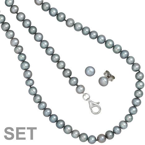 SIGO Set aus Perlenkette 45 cm Perlenarmband 19 cm und Perlen Ohrsteckern grau