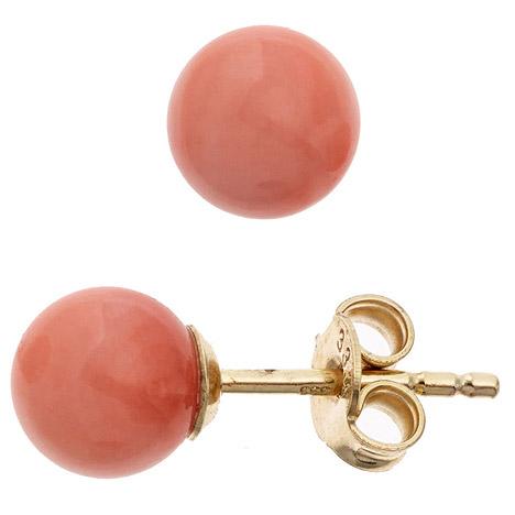 Ohrringe für Frauen - SIGO Ohrstecker Kugel 333 Gold Gelbgold 2 Korallen rosa rosé Ohrringe Goldohrstecker  - Onlineshop Goettgen