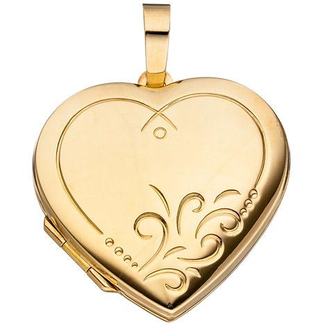 SIGO Medaillon Herz für 2 Fotos 925 Silber gold...