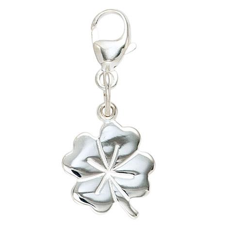 SIGO Einhänger Charm Kleeblatt 925 Sterling Silber rhodiniert Glücksbringer | Schmuck > Charms > Charms Anhänger | Silber | SIGO