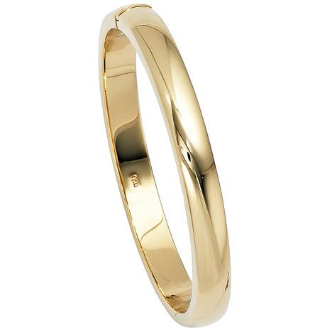Armbaender für Frauen - SIGO Armreif Armband oval 925 Silber gold vergoldet Kastenschloss  - Onlineshop Goettgen