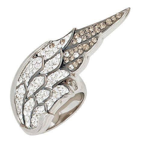 SIGO Damen Ring Engelsflügel 925 Sterling Silber mit SWAROVSKI® ELEMENTS Silberring