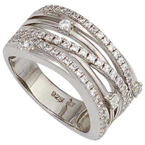 SIGO Damen Ring breit 925 Sterling Silber rhodiniert mit Zirkonia Silberring