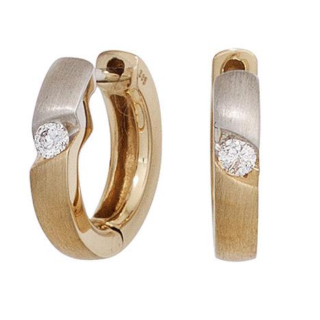SIGO Creolen rund 585 Gold Gelbgold bicolor matt 2 Diamanten Brillanten Ohrringe