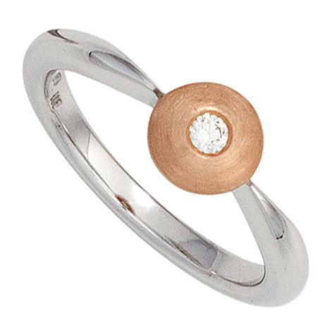 SIGO Damen Ring 585 Gold Weißgold Rotgold bicolor matt 1 Diamant Brillant Diamantring | Schmuck > Ringe | Weißgold - Silber - Mehrfarbigen - Multicolor - Gold - Weiß | Si | SIGO