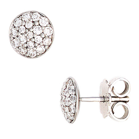 Ohrringe für Frauen - SIGO Ohrstecker rund 585 Gold Weißgold 36 Diamanten Brillanten 0,40ct. Ohrringe  - Onlineshop Goettgen