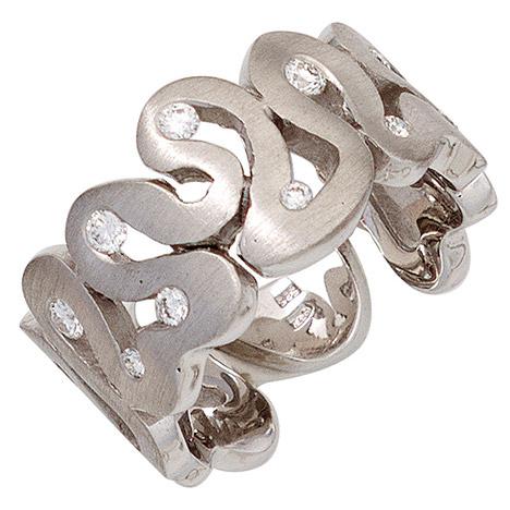 SIGO Damen Ring breit 585 Gold Weißgold matt 10 Diamanten Brillanten Weißgoldring
