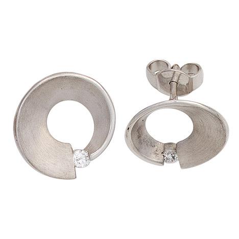 SIGO Ohrstecker 585 Gold Weißgold matt 2 Diamanten Brillanten 0,07ct. Ohrringe