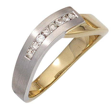 SIGO Damen Ring 585 Gold Gelbgold Weißgold bicolor teilmatt 8 Diamanten Brillanten | Schmuck > Ringe > Diamantringe | Weißgold - Silber - Mehrfarbigen - Multicolor - Gold - Weiß | SIGO