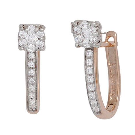 Ohrringe für Frauen - SIGO Creolen 585 Rotgold Weißgold bicolor 30 Diamanten Brillanten Ohrringe  - Onlineshop Goettgen