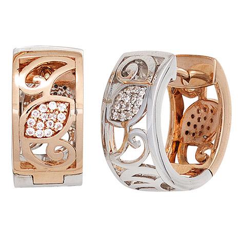 Ohrringe für Frauen - SIGO Creolen rund breit 585 Gold Rotgold Weißgold bicolor 56 Diamanten Ohrringe  - Onlineshop Goettgen