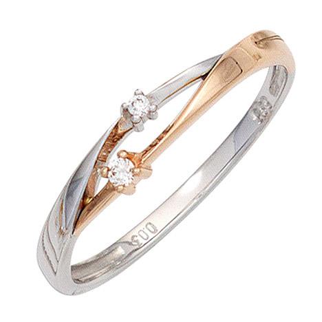 SIGO Damen Ring 585 Gold Weißgold Rotgold bicolor 2 Diamanten Brillanten Goldring