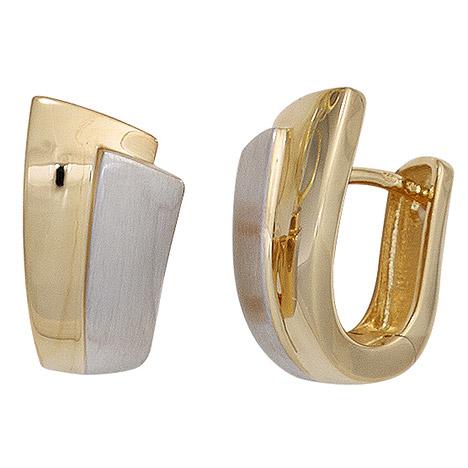 Ohrringe für Frauen - SIGO Creolen 585 Gold Gelbgold bicolor mattiert Ohrringe Goldohrringe Goldcreolen  - Onlineshop Goettgen