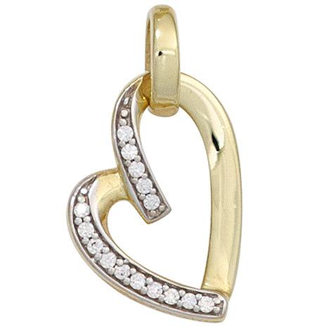 SIGO Anhänger Herz 333 Gold Gelbgold bicolor mit Zirkonia Herzanhänger   Schmuck > Halsketten > Herzketten   Silber - Mehrfarbigen - Multicolor - Gold - Weiß   SIGO