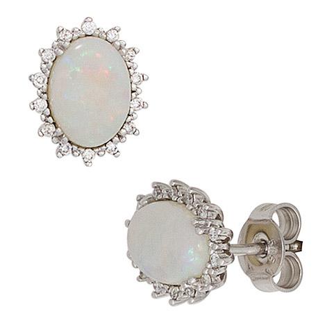 Ohrringe für Frauen - SIGO Ohrstecker oval 585 Gold Weißgold 2 Opale 28 Diamanten Brillanten Ohrringe  - Onlineshop Goettgen
