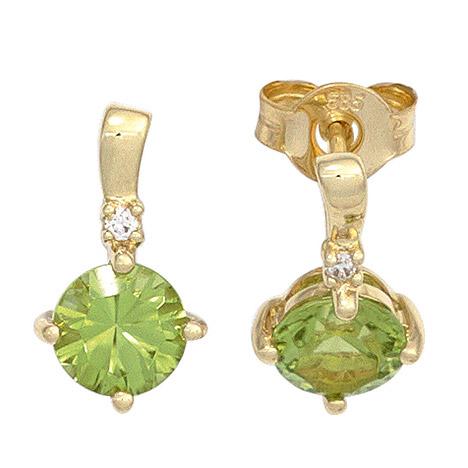 Ohrringe für Frauen - SIGO Ohrstecker 585 Gold Gelbgold 2 Peridote grün 2 Diamanten Brillanten Ohrringe  - Onlineshop Goettgen