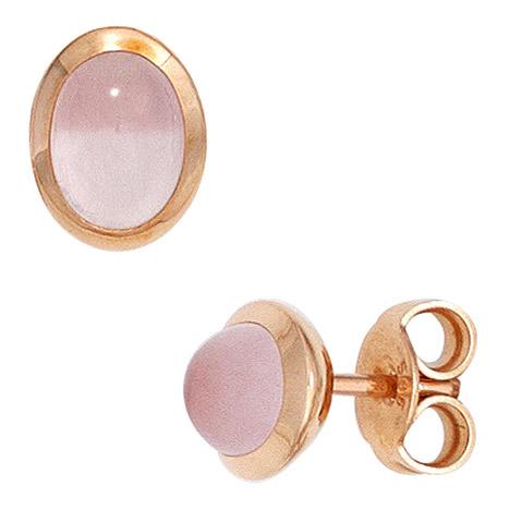 Ohrringe für Frauen - SIGO Ohrstecker oval 585 Gold Rotgold 2 Rosenquarz Cabochons rosa Ohrringe  - Onlineshop Goettgen