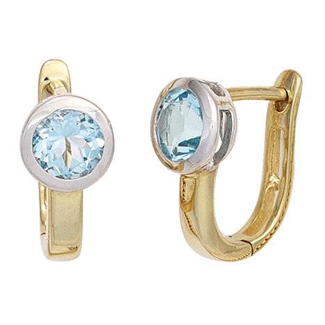 Ohrringe für Frauen - SIGO Creolen 585 Gold Gelbgold bicolor 2 Blautopase hellblau blau Ohrringe  - Onlineshop Goettgen