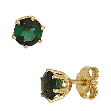 Ohrringe für Frauen - SIGO Ohrstecker rund 585 Gold Gelbgold 2 Turmaline grün Ohrringe Goldohrstecker  - Onlineshop Goettgen
