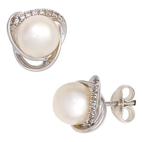 Ohrringe für Frauen - SIGO Ohrstecker 585 Weißgold 2 Süßwasser Perlen 16 Diamanten Brillanten Ohrringe  - Onlineshop Goettgen
