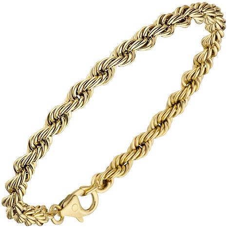 Armbaender für Frauen - SIGO Kordelarmband 585 Gold Gelbgold 19 cm Armband Goldarmband Karabiner  - Onlineshop Goettgen