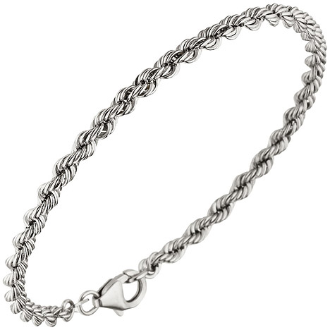 Armbaender für Frauen - SIGO Kordelarmband 585 Gold Weißgold 19 cm Armband Goldarmband Karabiner  - Onlineshop Goettgen