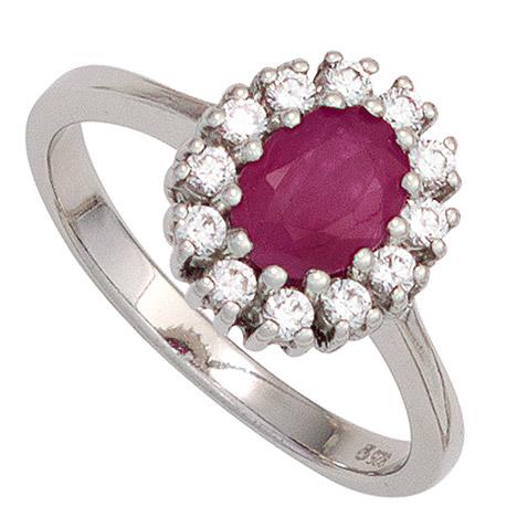 SIGO Damen Ring 925 Sterling Silber rhodiniert 1 Rubin rot 12 Zirkonia Silberring