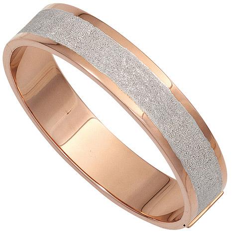 Armbaender für Frauen - SIGO Armreif Armband oval breit 925 Silber rotgold vergoldet mattiert Kastenschloss  - Onlineshop Goettgen