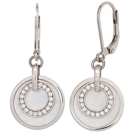 SIGO Boutons rund 925 Sterling Silber Zirkonia 2 Perlmutt-Einlagen Ohrringe Ohrhänger | Schmuck > Ohrschmuck & Ohrringe > Ohrstecker | Silber - Weiß | SIGO